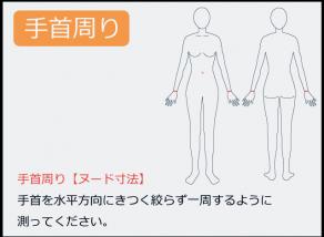 手首周りの測り方 手首を水平方向にきつく絞らず一周するように 測ってください。