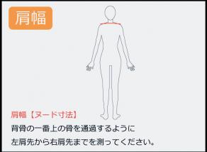 肩幅の測り方 背骨の一番上の骨を通過するように 左肩先から右肩先までを測ってください。