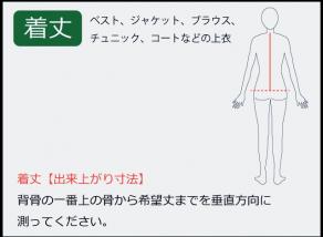 着丈の測り方 背骨の一番上の骨から希望丈までを垂直方向に 測ってください。